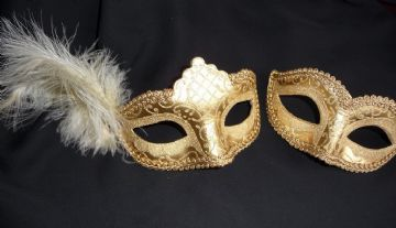 His & Hers Gold Glitter Masks b